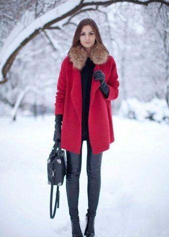 пальто красное фото