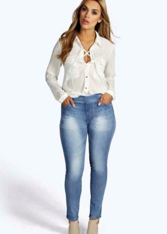 Джеггинсы больших размеров для полных женщин (32 фото): с чем носить