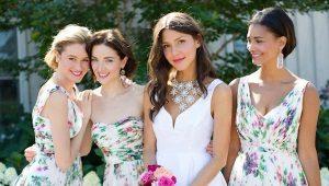 Вечерние платья для подружек невесты одного цвета или разных оттенков