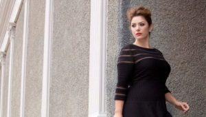 Черное вечернее платье большого размера для полных женщин
