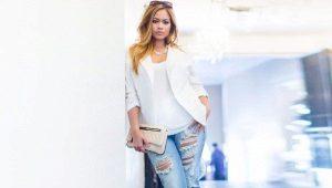 Рваные джинсы для полных девушек