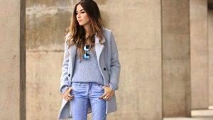 С чем носить голубое пальто?