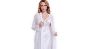 Белый шелковый халат