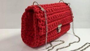 Вязаная сумка из трикотажной пряжи крючком: мастер-класс