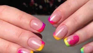 Идеи оформления цветного френча на коротких ногтях