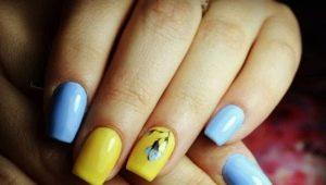 Идеи оформления маникюра в желто-голубых тонах