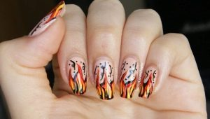 Как сделать маникюр с огнем?