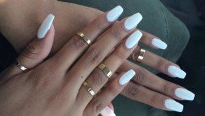Необычный белый маникюр на длинные и короткие ногти