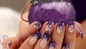 Варианты оформления маникюра в фиолетовых тонах