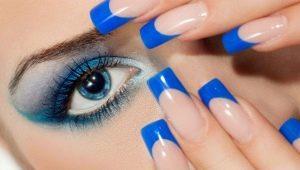 Синий французский маникюр