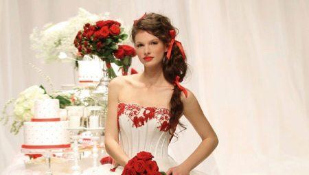 Свадебные платья с красными элементами