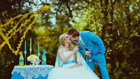 Голубое свадебное платье – для необычного образа
