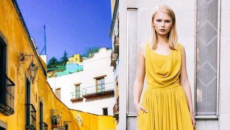 Платье горчичного цвета – для эффектных женщин