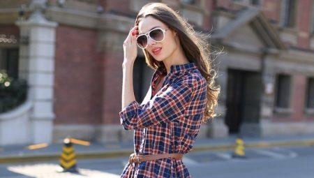 Платье-рубашка в клетку - непринужденный стильный образ