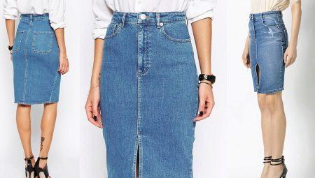 87731bf9a8f Джинсовая юбка карандаш (37 фото)  с чем носить