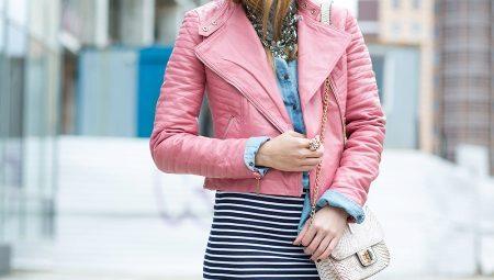 Розовая кожаная куртка