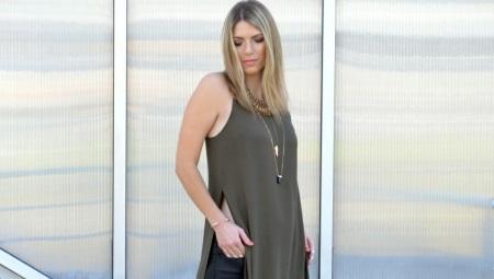 Длинная женская футболка с разрезами по бокам