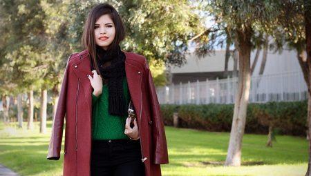 Модные бордовые пальто