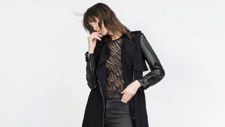 Пальто с кожаными рукавами (85 фото)