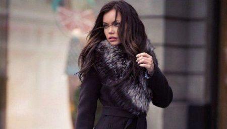 95e3e9b2f36 Зимнее женское кашемировое пальто с меховым воротником (75 фото)