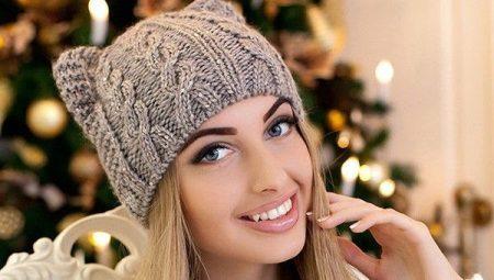 шапка с косами 78 фото с градиентом с отворотом из толстой
