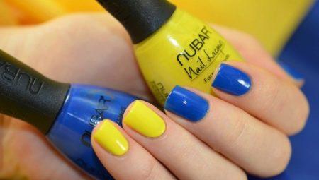 Варианты сине-желтого маникюра