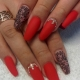 Дизайн красного маникюра на длинные ногти