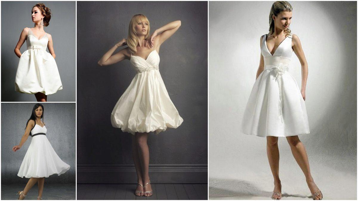 Короткие свадебные платья: плюсы, фасоны, виды, выбор, фото