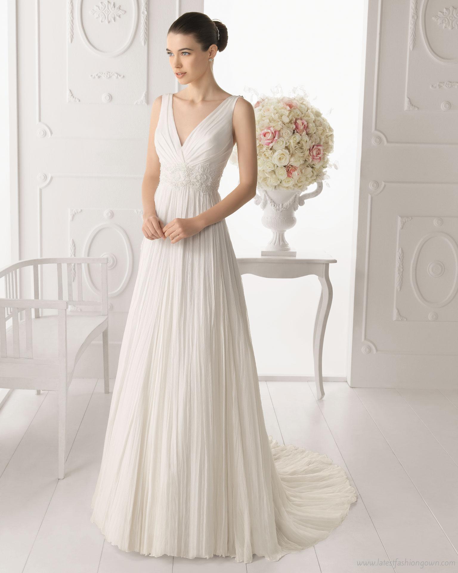 Свадебные платья с v-образным