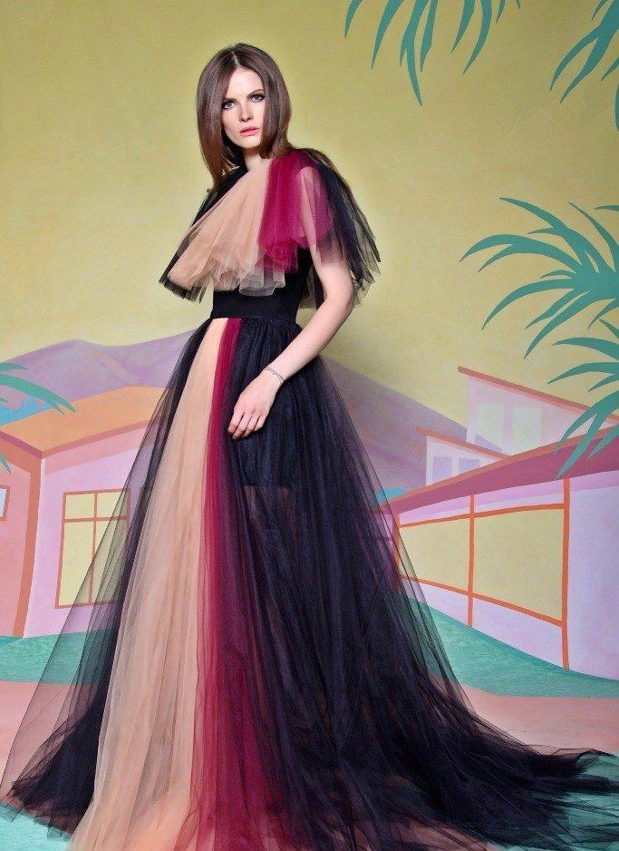 bb1bdfeb88d Цветное вечернее платье А-силуэта