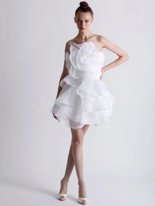Короткое пышное свадебное платье (с
