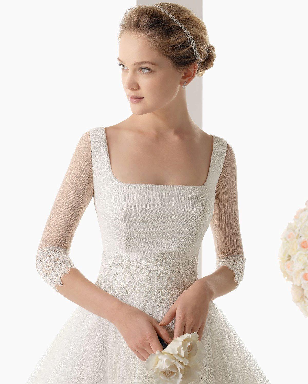 свадебное платье с квадратным вырезом