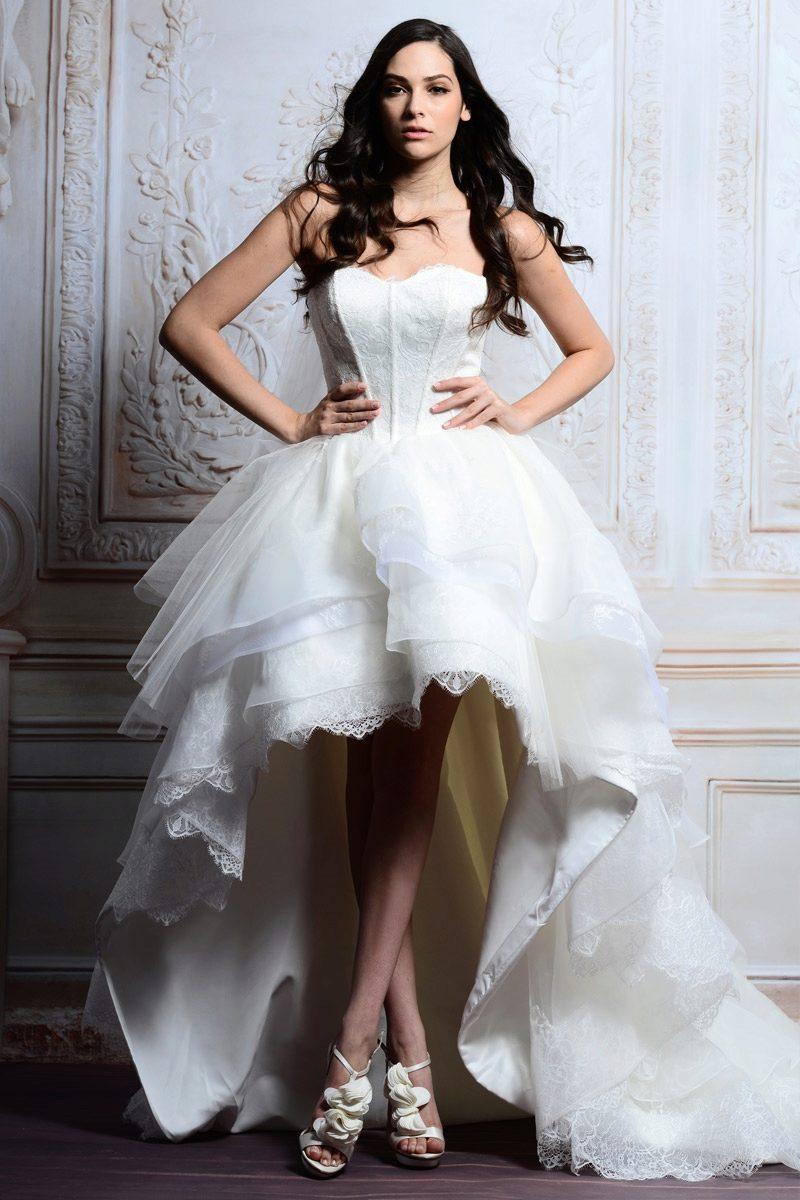 e52e253b910 Свадебные платья короткие со шлейфом  короткое спереди