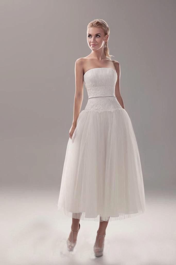 ac448616e3a Свадебное платье миди  средняя длина до и ниже колена (49 фото)