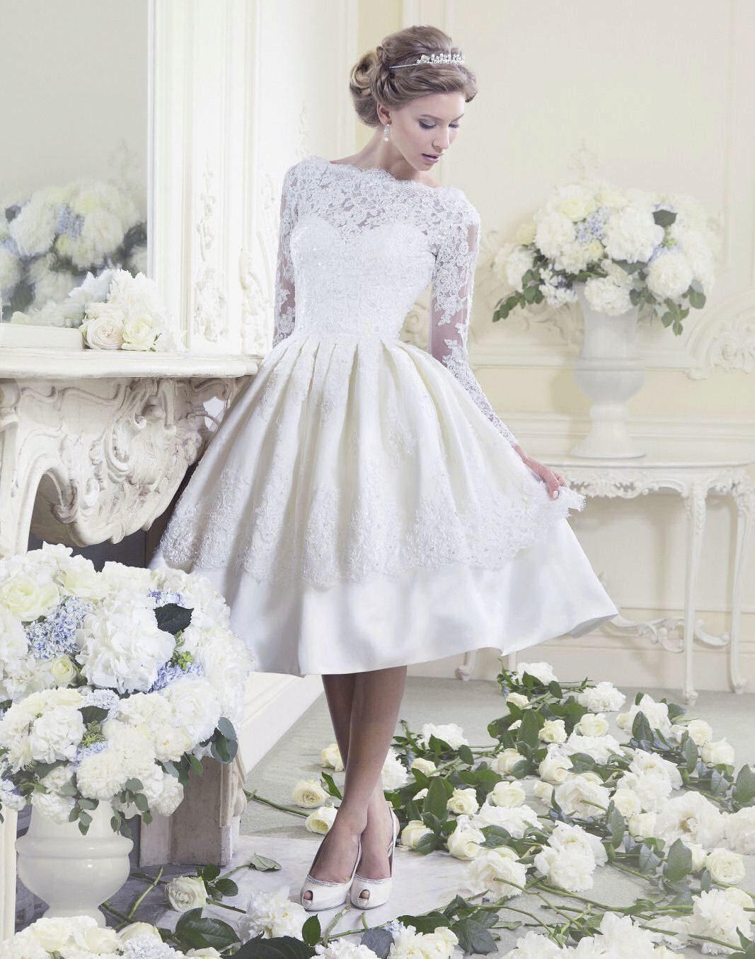 Короткие миди свадебные платья