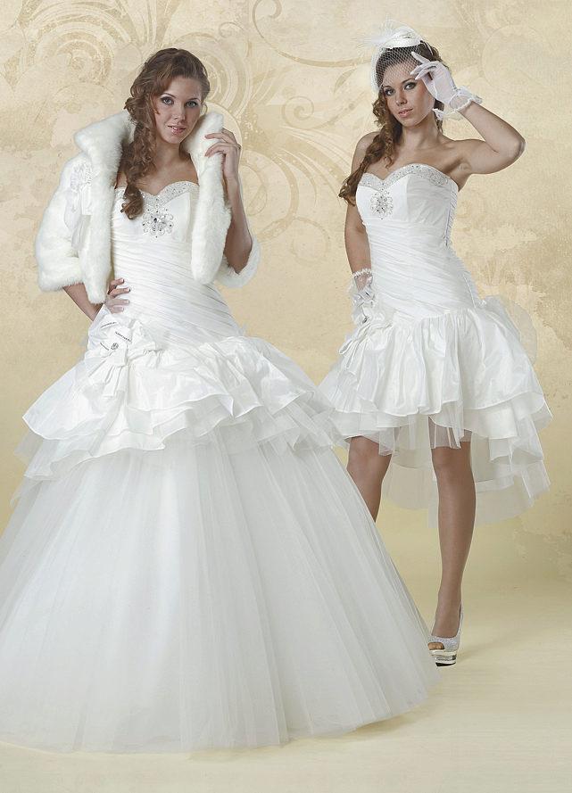 Свадебное платье-трансформер: с отстегивающейся юбкой, из длинного