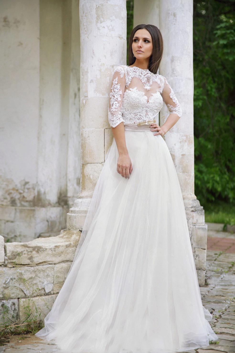 Свадебное платье закрытое полностью