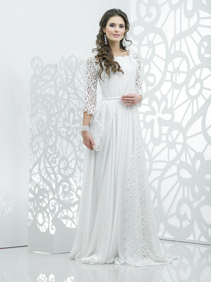 Кружевное свадебное платье рукава три четверти