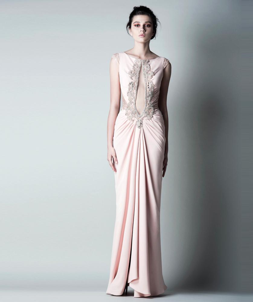 98613c26f1e вечернее бежевое платье с драпировкой и вырезом