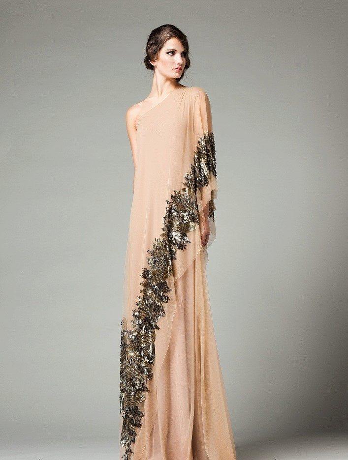 dfcc3ca5072 Вечернее платье бежевое в стиле ампир с черным рисунком