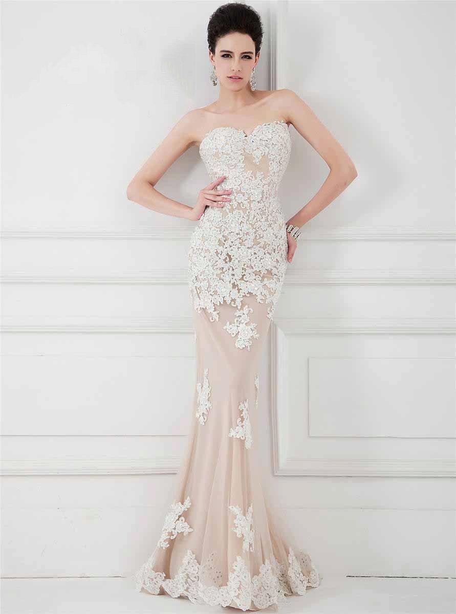 1c832fc5690 Вечернее платье бежевое с эффектом обнаженного тела