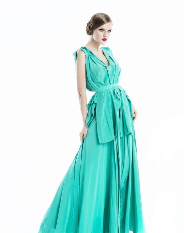 Платье вечернее цвет бирюза