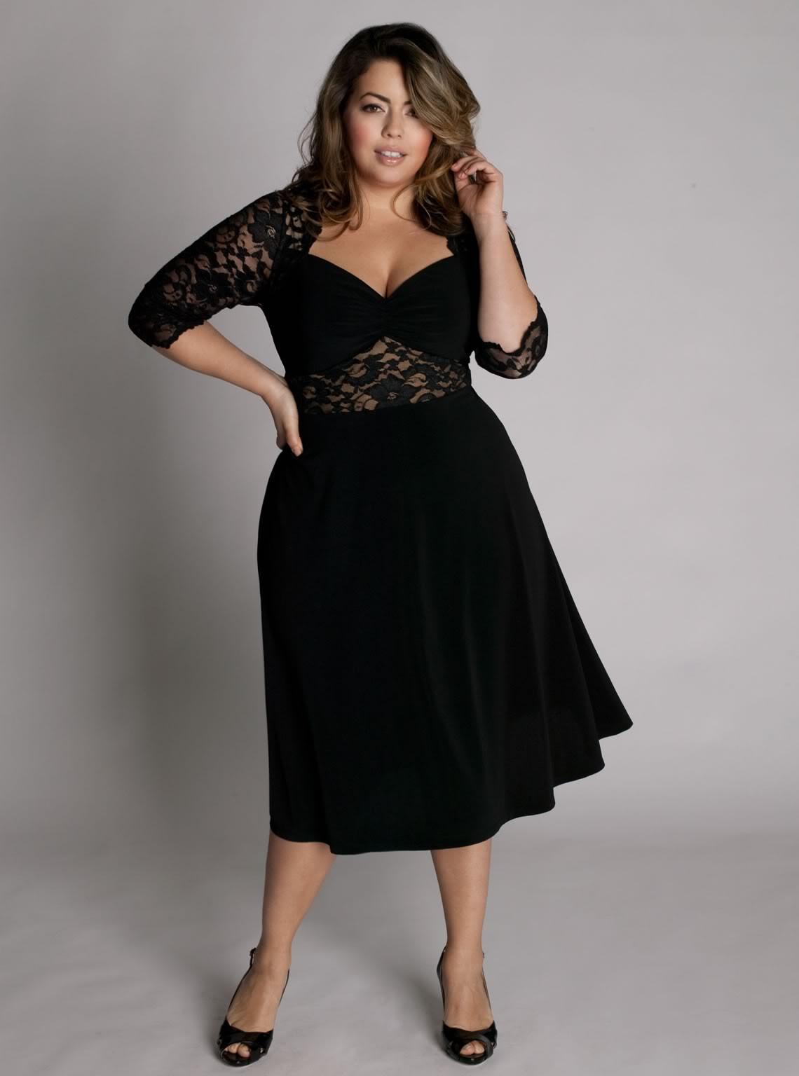 Модель короткого платья для полных