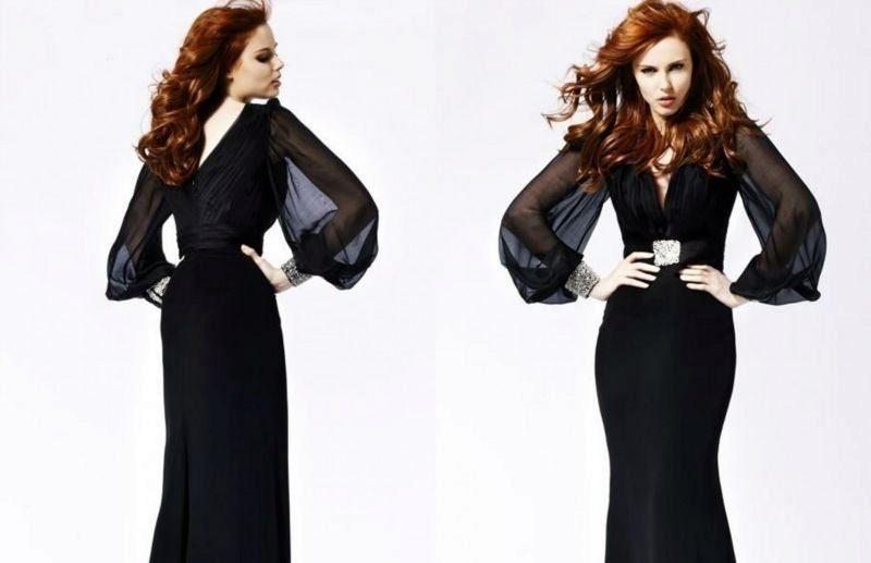 Черное платье вечернее с длинными рукавами