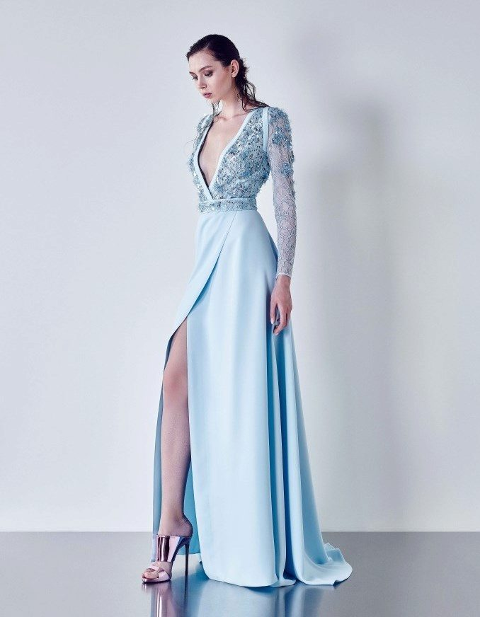 Платье в пол с длинным рукавом прямое
