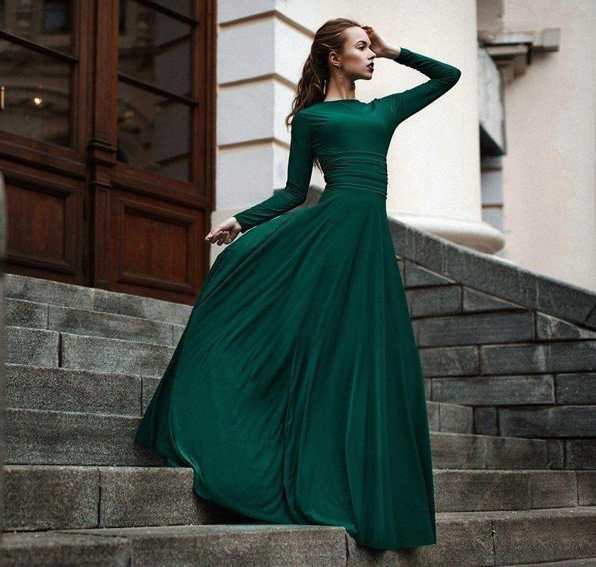 292a5886b7d Зеленое вечернее платье  темные и светлые оттенки