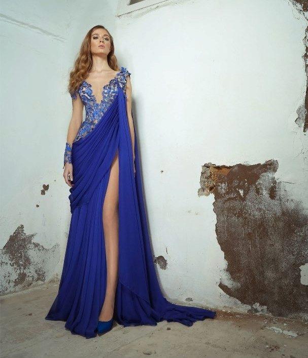 Фото длинные вечерние синие платья