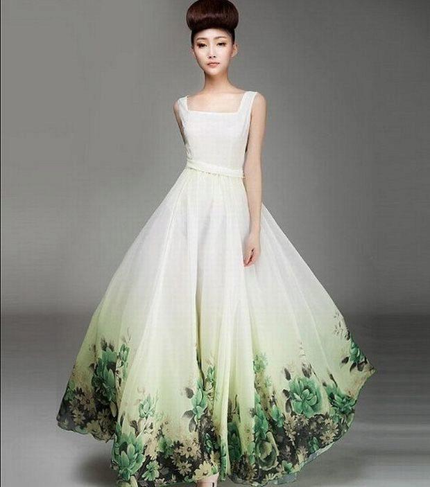 Зелёное свадебное платье фото