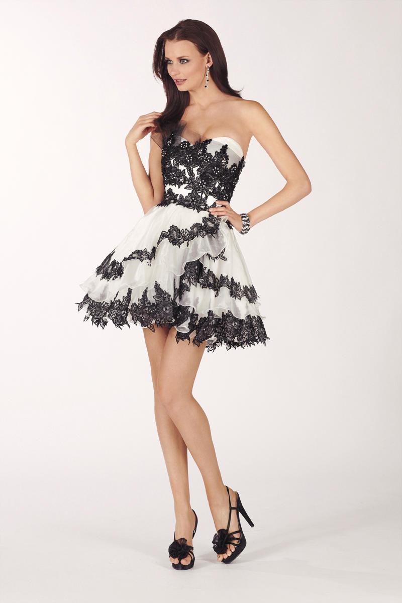 Платья короткие черно белые