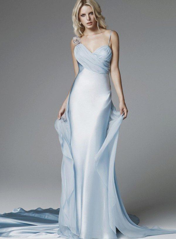 Голубые свадебные платья: бело-голубые, нежные и яркие оттенки
